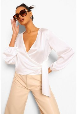 Ivory Wrap Satin Blouse