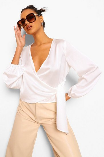 Ivory white White Wrap Satin Blouse