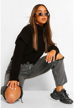 Shoulder Detail Roll Neck Jumper, Black negro