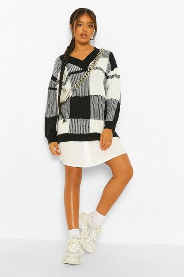 Black Check Oversized 2 In 1 Jumper Dress