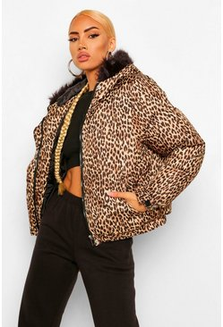 Natural beige Leopard Hooded Puffer