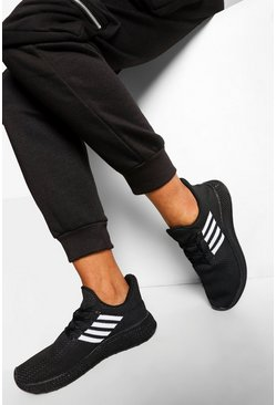 Black Side Stripe Basic Running Trainers