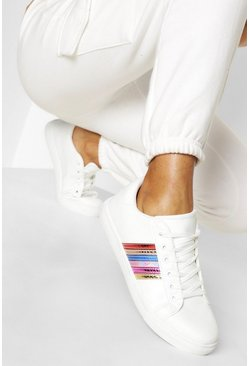 White Rainbow Side Stripe Flat Trainers