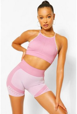 Contour Rib Seamfree Moulded Sports Bra, Pink Розовый