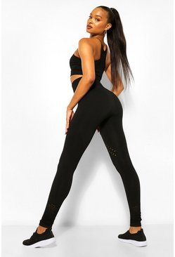 Black Contour Rib Seamfree Gym Leggings