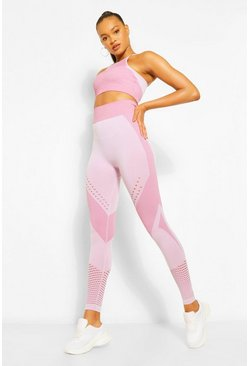 Pink Contour Rib Seamfree Workout Leggings