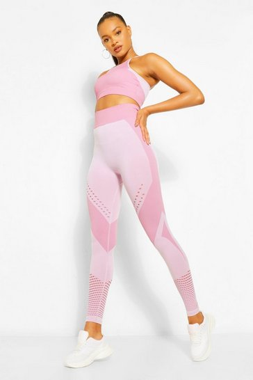 Pink Contour Rib Seamfree Gym Leggings