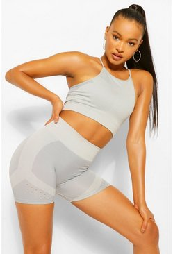 Grey Contour Rib Seamfree Cycling Shorts