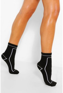 Black Piped Detail Sport Socks