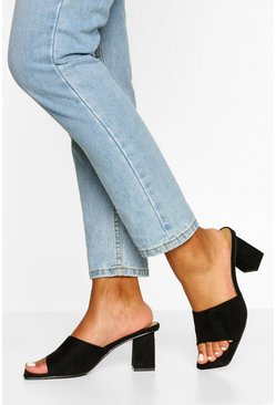 Black Square Toe Thong Low Mule Heels