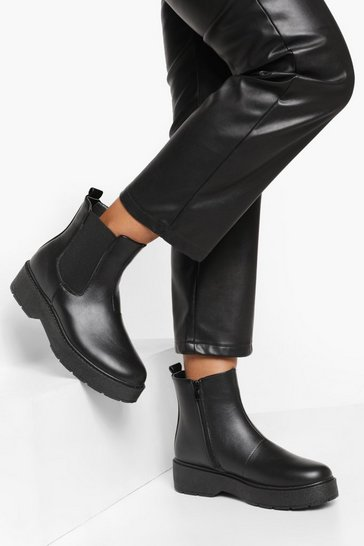 Black Platform Chunky Chelsea Boots