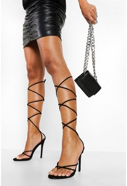 Black Wrap Up Strappy Stiletto Heels