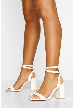 White Two Part Block Heels