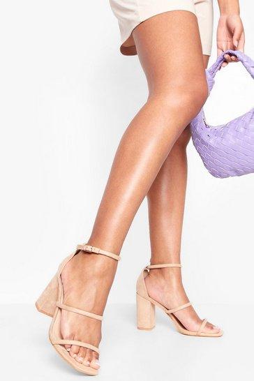 Nude Triple Strap Block Heel Sandals