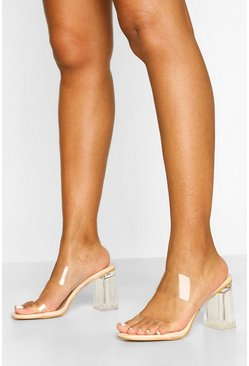 Nude Wide Fit Clear Heel Mules