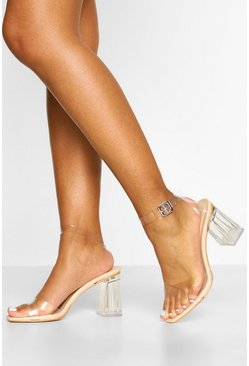 Nude Wide Fit Clear Two Part Heels