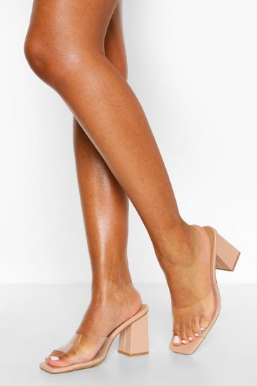 Nude Low Block Heel Clear Mules