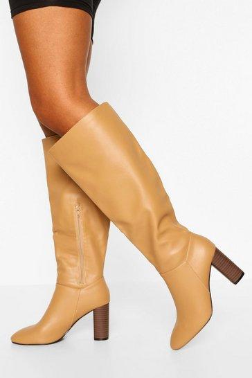 Beige Wide Fit Block Heel Knee High Boots