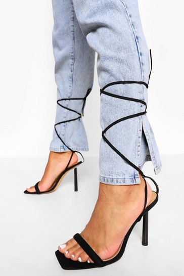 Black Strappy Square Toe Interest Heels