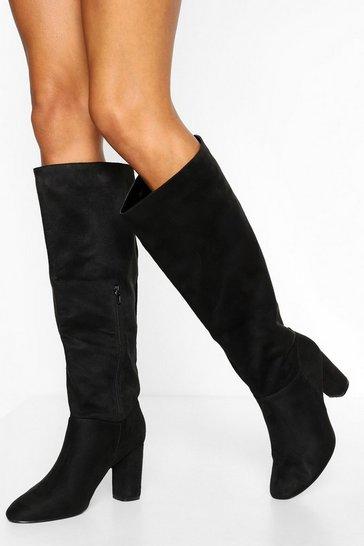 Black Wide Fit Block Heel Knee High Boots