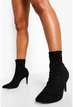Black Wide Fit Basic Stiletto Heel Sock Boots