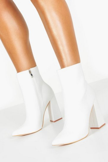 White Wide Fit Flared Heel Sock Boots