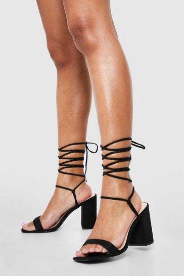 Black Wide Fit Tie Up Strap Block Heels