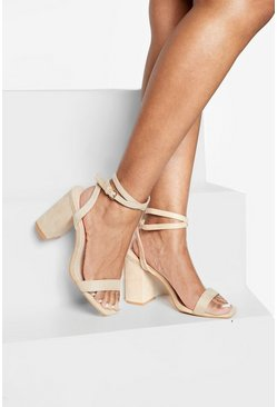 Nude Wide Fit Two Part Block Heels