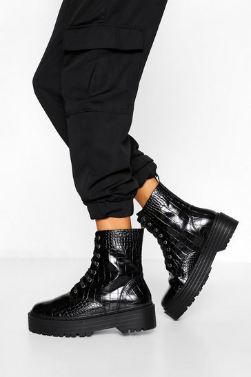 Black Wide Fit Croc Chunky Hiker Boots