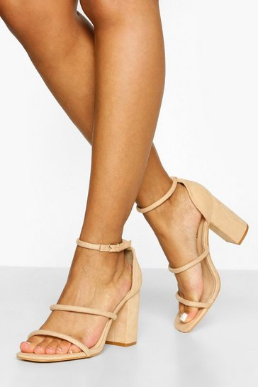 Nude Wide Fit Triple Strap Block Heel Sandals