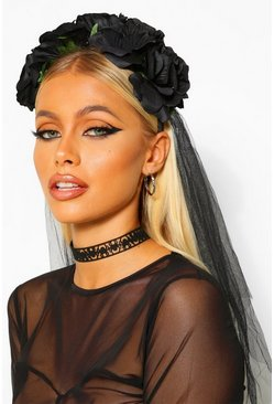 Black Large Rose And Veil Headband
