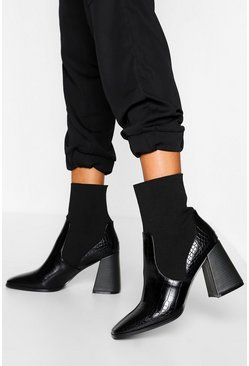 Black Croc Block Heel Knitted Panel Sock Boots