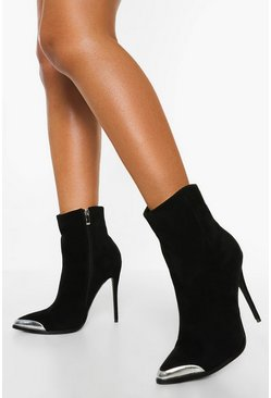 Black Metal Trim Stiletto Heel Sock Boots