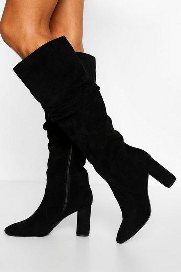 Black Slouched Block Heel Knee High Boots