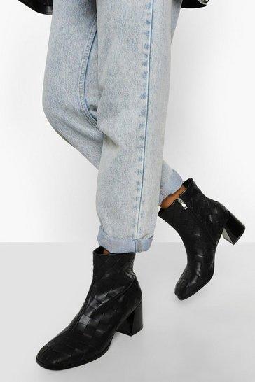 Black Woven Block Heel Shoe Boots
