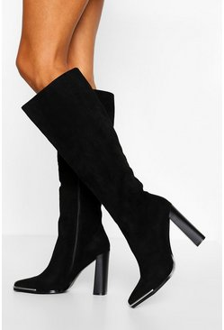 Black Metal Trim Block Heel Knee High Boot