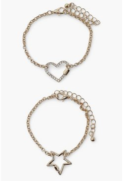 Gold metallic 2Pack Heart And Star Lock And Chain Bracelet