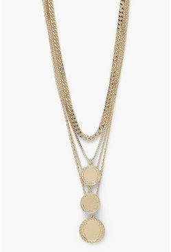 Gold metallic Layered Coin And Chain Statement Necklace