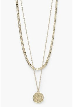 Coin And Curb Chain 2 Pack Choker, Gold metálicos