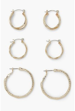Woven Effect 3 Pack Detail Hoop Earrings, Gold metálicos