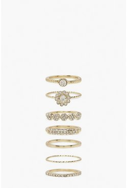 Diamante Stacking Rings 7 Pack, Gold Металлик