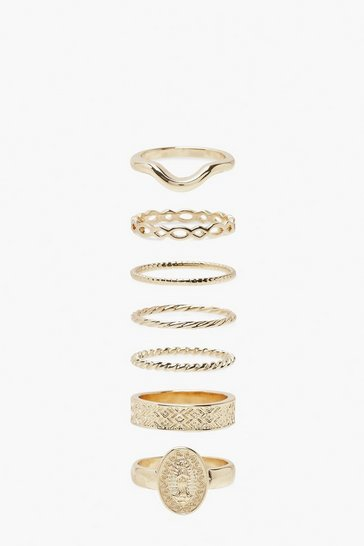 Gold metallic Wishbone And Coin 7 Pack Stacking Ring