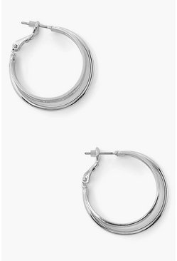 Large 3 Layer Hoop Earring, Silver argent