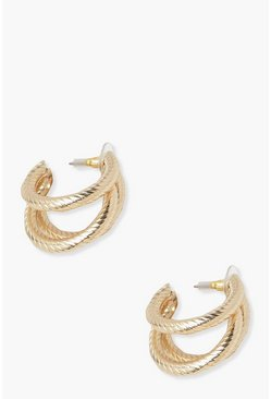Gold metallic 3 Layer Textured Hoop Earring