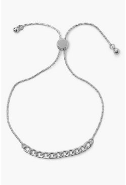 Silver Adjustable Curb Chain Bracelet