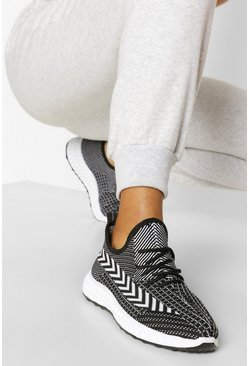Black Stripe Detail Knitted Running Trainers