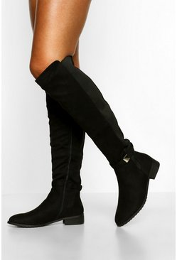 Black Metal Trim Elastic Gusset Knee High Boots