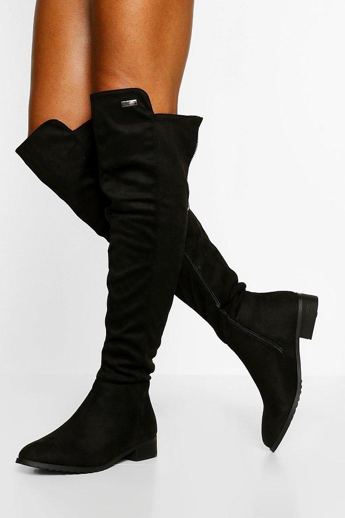 Zwarte Platte Overknee Laarzen Met Rits | boohoo