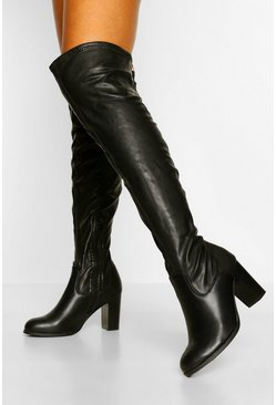 Black Block Heel Zip Back Over The Knee Boots
