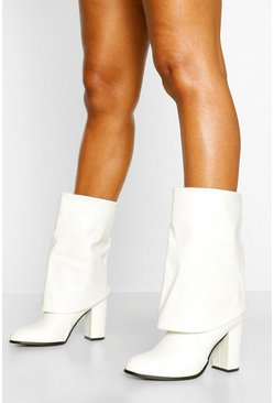 White Fold Over Block Heel Knee Boots